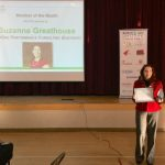 Suzanne Greathouse of Kenmore receives the BothellKenmore Chamber's Member-of-the-Month Award in February 2019